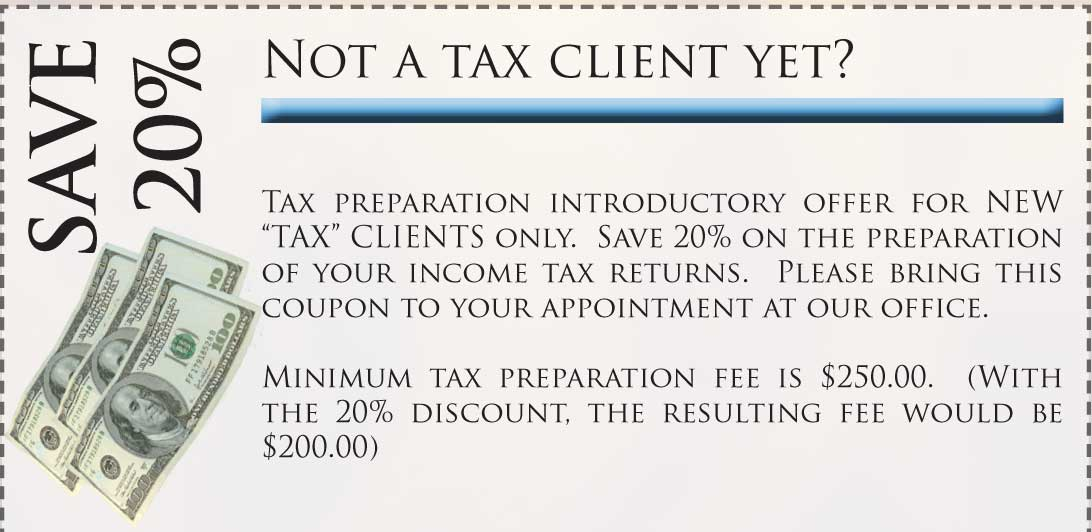 Tax prep discount coupons