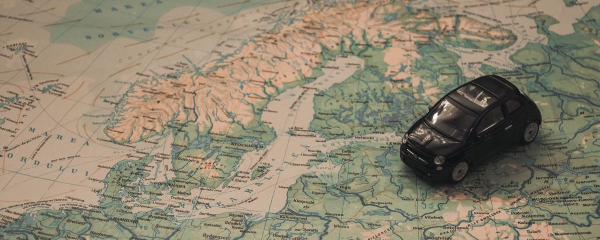 Rental car on map