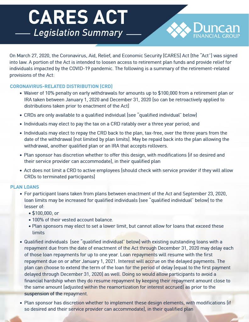 CARES Act Legislation Summary
